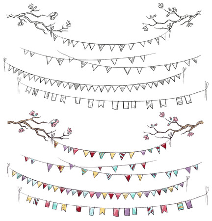 bunting: Doodle tree branches and party flags. Garlands. Decorations. Vector illustration.