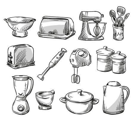 Conjunto de utensilio de cocina. Utensilios para el hogar. dibujado a mano. Vector illustraton.