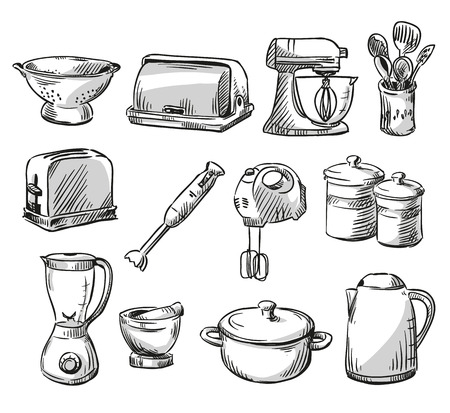 Set of kitchen appliance. Household utensils.  hand drawn. Vector illustraton.
