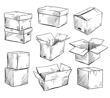 set of doodle cardboard boxes. Vector illustration.  イラスト・ベクター素材