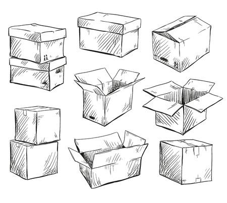 set of doodle cardboard boxes. Vector illustration. Vettoriali