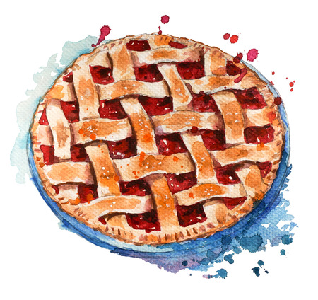 Hand painted home made berry pie. Watercolor sketch.
