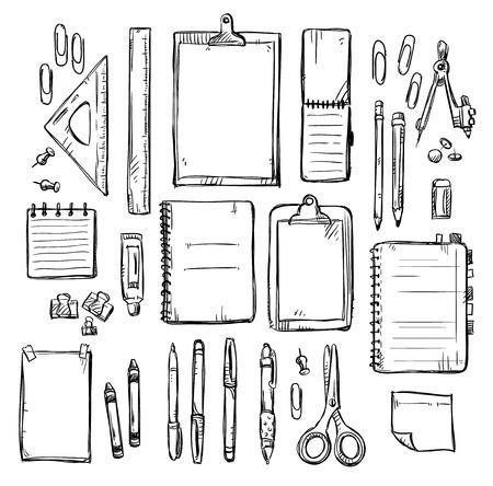 文房具図面のセットです。ベクトルの図。  イラスト・ベクター素材