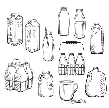 Leche. Packaging. Ilustración del vector.