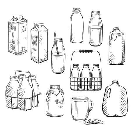 glass containers: Milk. Packaging. Vector illustration.