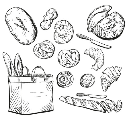 Bread. Buns. Baking. Vector illustration. Çizim