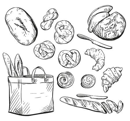 Bread. Buns. Baking. Vector illustration. Vettoriali