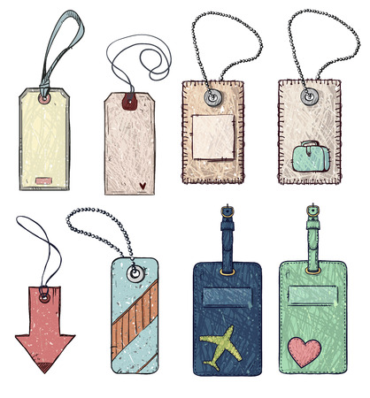 luggage tag: set of various tags. vector illustration