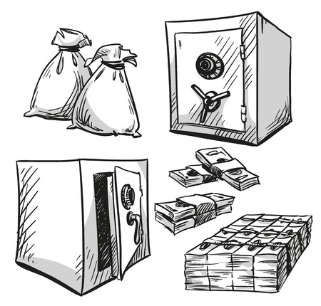 safes: set of safes drawings. Money. Cash. Vector illustration
