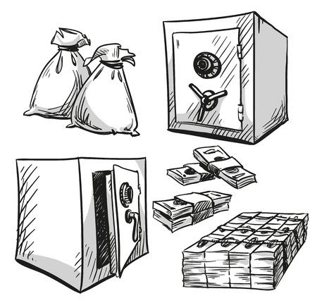 safe: set of safes drawings. Money. Cash. Vector illustration