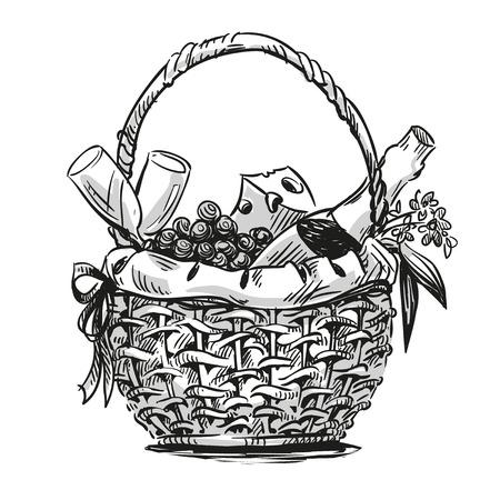 canastas con frutas: Cesta de picnic con bocadillo. Dibujado a mano. Vectores