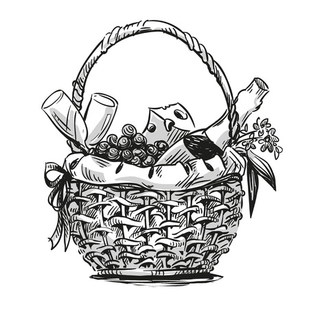 basket: Picnic basket with snack. Hand drawn. Illustration