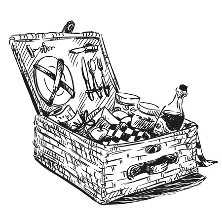 hand basket: Picnic basket with snack. Hand drawn. Illustration