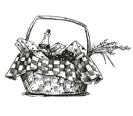 vinho: Cesta de piquenique com lanche. Desenho.