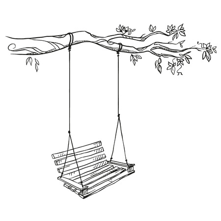tree with a swing. Vector illustration.
