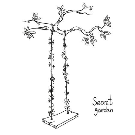 dessin noir et blanc: arbre avec une balançoire. Vector illustration.