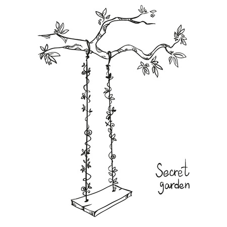 blossom tree: tree with a swing. Vector illustration.