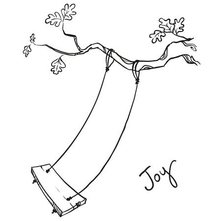 doodle: tree with a swing. Vector illustration.