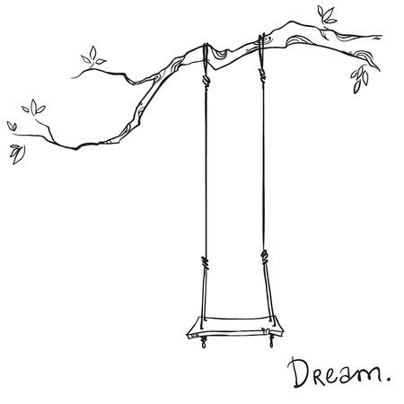 Baum mit einer Schaukel. Vektor-Illustration. Standard-Bild - 36599929