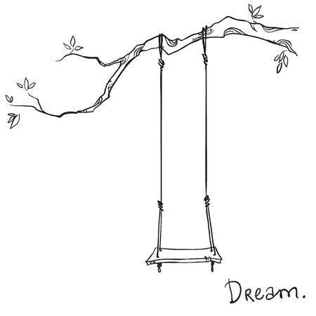 hand drawn tree: tree with a swing. Vector illustration.