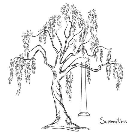 columpio: �rbol con un columpio. Ilustraci�n del vector. Vectores