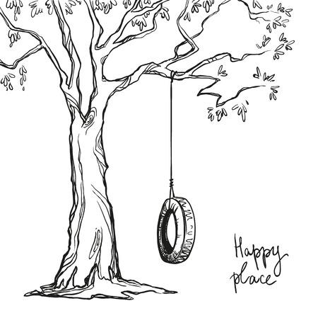 dessin noir et blanc: arbre avec une balan�oire. Vector illustration.