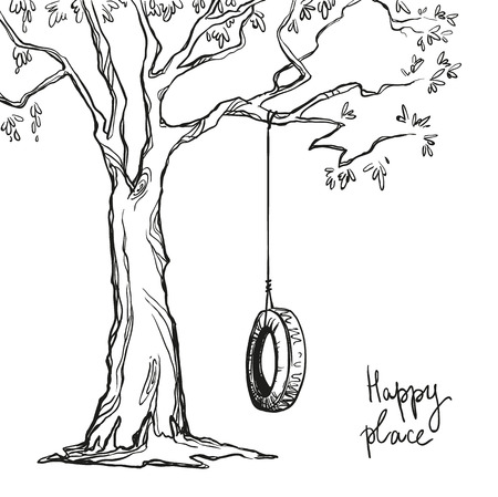 columpios: árbol con un oscilación del neumático. Ilustración del vector.