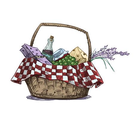 canestro basket: Cestino da picnic con snack. Disegnata a mano. Illustrazione vettoriale.