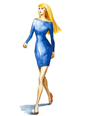 fashion illustration, watercolor sketch. Vector illustration.