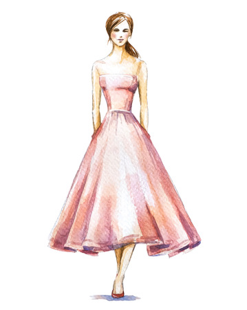 fashion girl style: Watercolor fashion illustration, girl in a dress. Vector illustration.