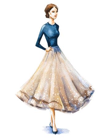 ファッション イラスト、水彩スケッチ。ベクトルの図。