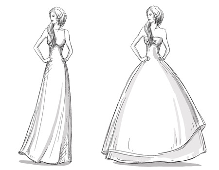 evening gown: Fashion hand drawn illustration. Vector sketch. Long dress. Illustration