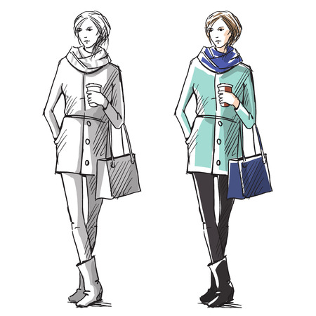 Fashion hand drawn illustration. Vector sketch.street fashion. Иллюстрация