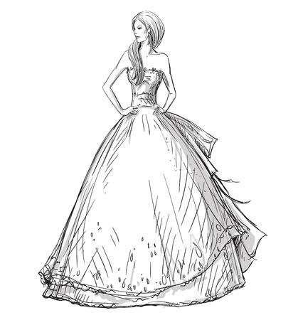 패션 손으로 그린 그림. 벡터 스케치. 롱 드레스.