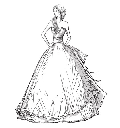 Fashion hand drawn illustration. Vector sketch. Long dress. Illustration