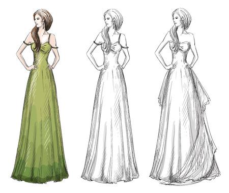 ファッション手描き下ろしイラスト。ベクトルのスケッチ。長いドレス。