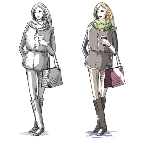 fur coat: Fashion hand drawn illustration. sketch.street fashion. Illustration