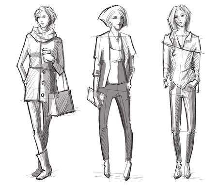Fashion hand getrokken illustratie. Vector sketch.street mode.