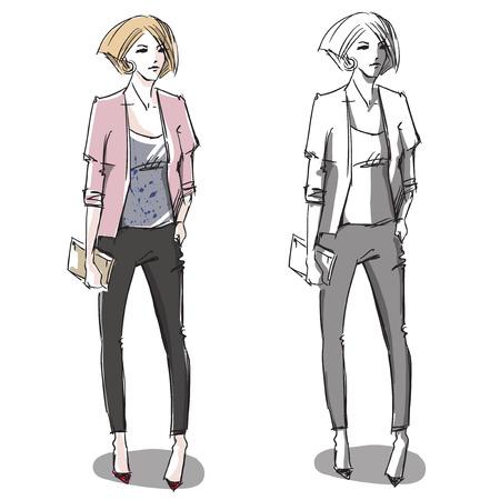 Fashion hand drawn illustration. Vector sketch.street fashion. Ilustração