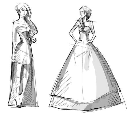 Fashion hand drawn illustration. Vector sketch. Long dress. Vettoriali