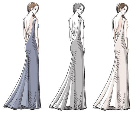 Fashion hand drawn illustration. Vector sketch. Long dress. Vector