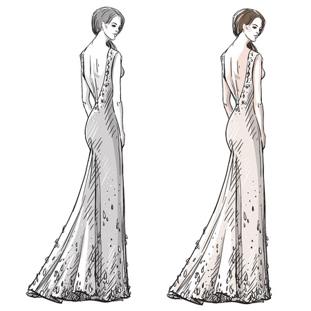 rear view girl: Fashion hand drawn illustration. Vector sketch. Long dress. Illustration
