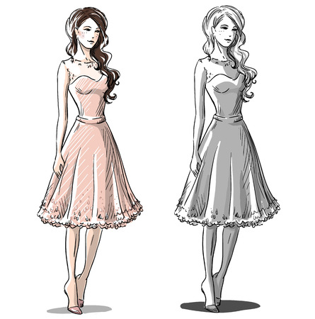 Fashion hand drawn illustration. Vector sketch.