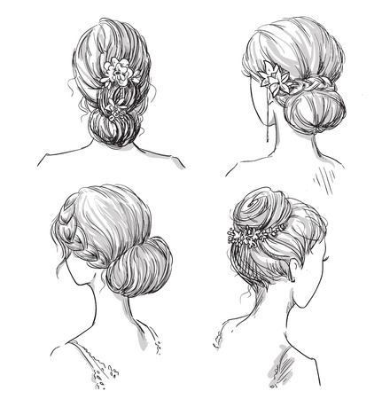 pretty dress: set of hairstyles. Bridal hairdo. Hand drawn