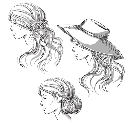 Girl with different hairstyles. Profile view. girl in a hat. Hand drawn Illustration