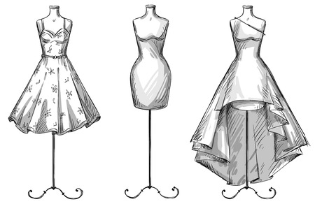 white dress: Set of mannequins. Dummies with dresses. Fashion illustration