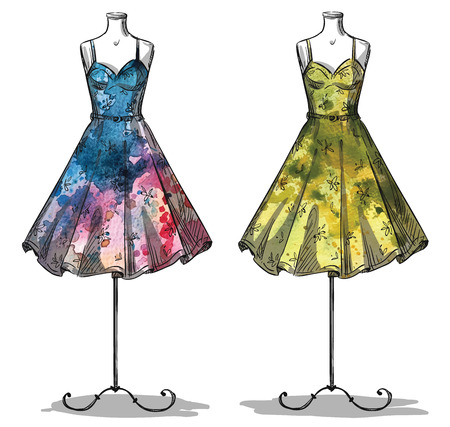 fashion illustration: Dummies with dresses. Fashion illustration