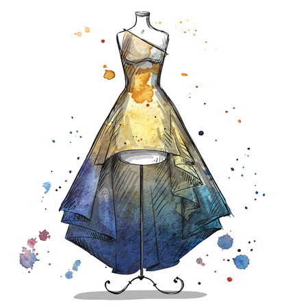 sew: Mannequin with a long dress. Fashion illustration.