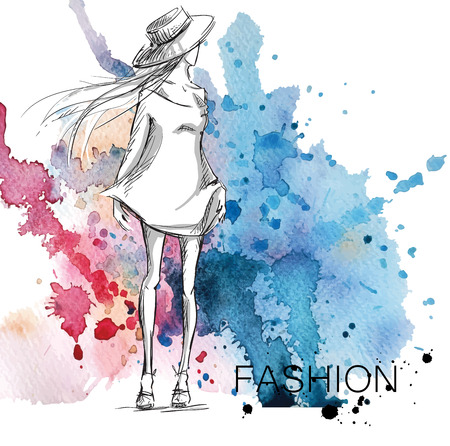fashion sketch. Girl on a watercolor background. Stock Illustratie