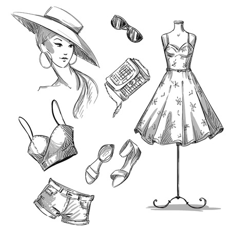 dress sketch: fashion illustration . collection of summer clothing and accessories